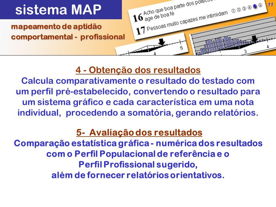 11 4 - Obtenção dos resultados Calcula comparativamente o resultado do testado com um perfil pré-estabelecido, convertendo o resultado para um sistema gráfico e cada característica em uma nota individual, procedendo a somatória, gerando relatórios.