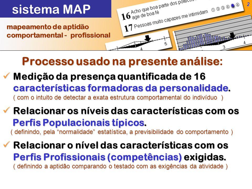 2 Processo usado na presente análise Processo usado na presente análise: mapeamento de aptidão mapeamento de aptidão comportamental - profissional comportamental - profissional Medição da presença quantificada de 16 características formadoras da personalidade.