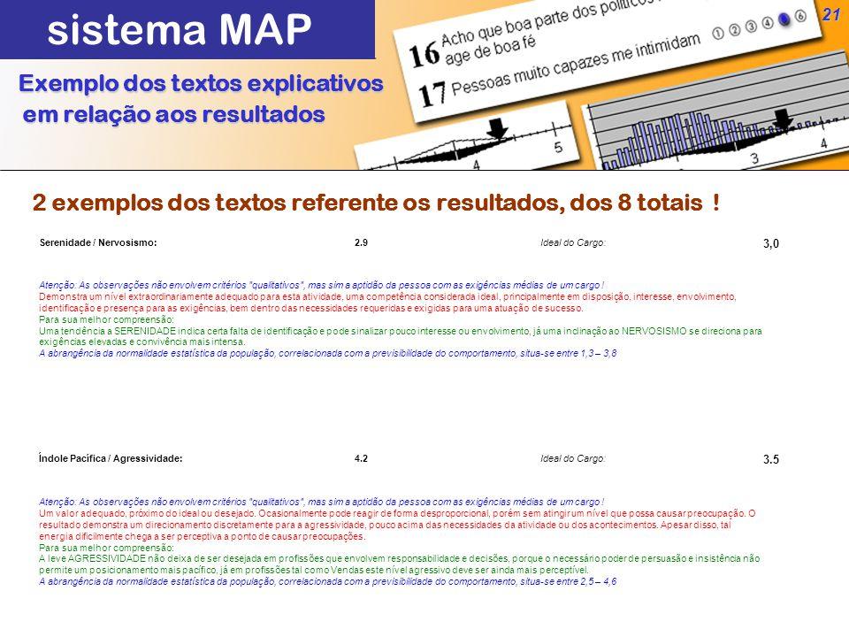 21 Exemplo dos textos explicativos em relação aos resultados em relação aos resultados sistema MAP Serenidade / Nervosismo:2.9Ideal do Cargo: 3,0 Atenção: As observações não envolvem critérios qualitativos , mas sim a aptidão da pessoa com as exigências médias de um cargo .