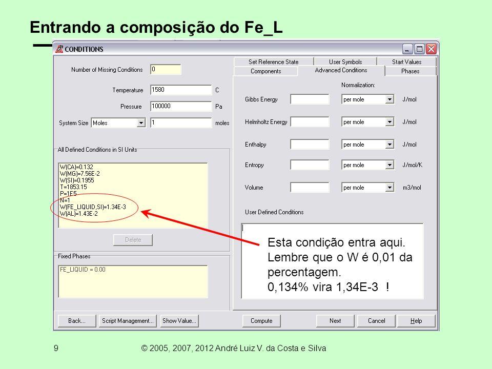 10 © 2005, 2007, 2012 André Luiz V. da Costa e Silva Fixando o Fe_L e suspendendo o GAS