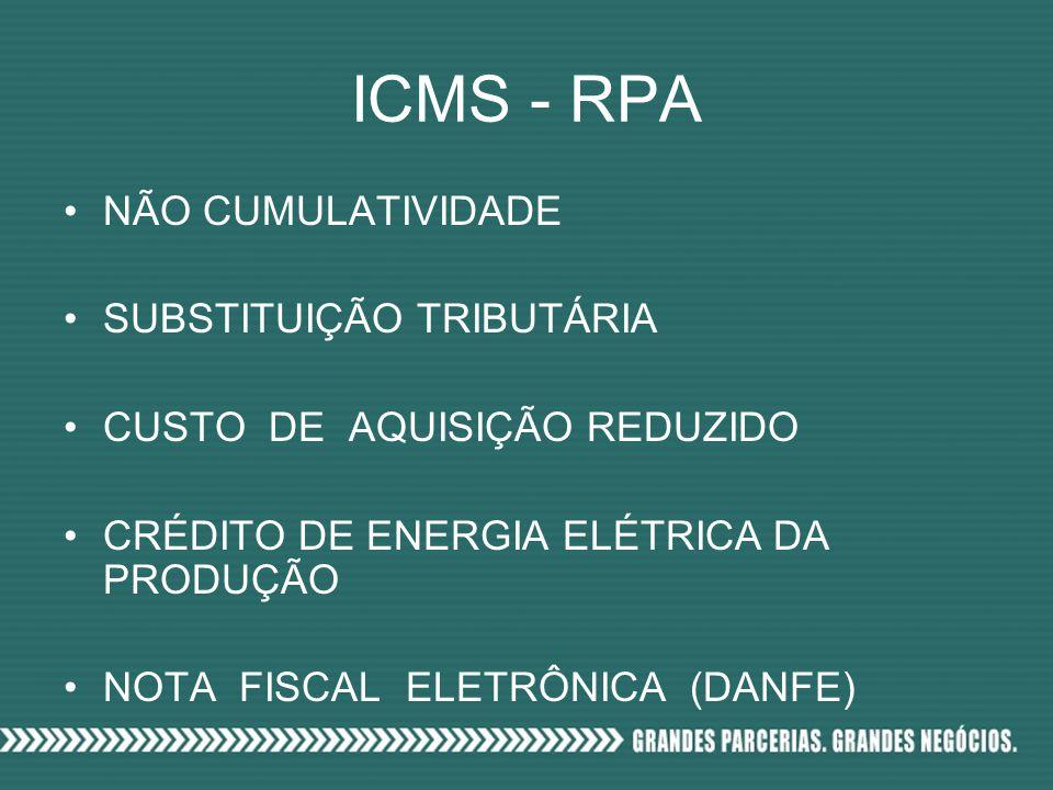 ICMS - RPA NÃO CUMULATIVIDADE SUBSTITUIÇÃO TRIBUTÁRIA CUSTO DE AQUISIÇÃO REDUZIDO CRÉDITO DE ENERGIA ELÉTRICA DA PRODUÇÃO NOTA FISCAL ELETRÔNICA (DANFE)