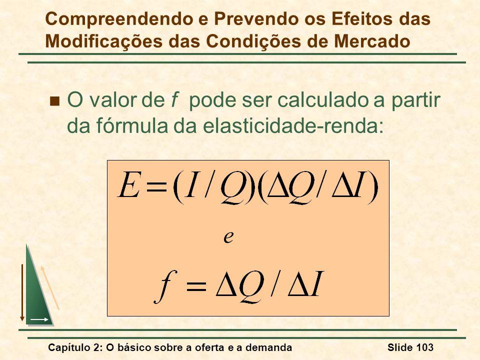 Capítulo 2: O básico sobre a oferta e a demandaSlide 103 O valor de f pode ser calculado a partir da fórmula da elasticidade-renda: e Compreendendo e