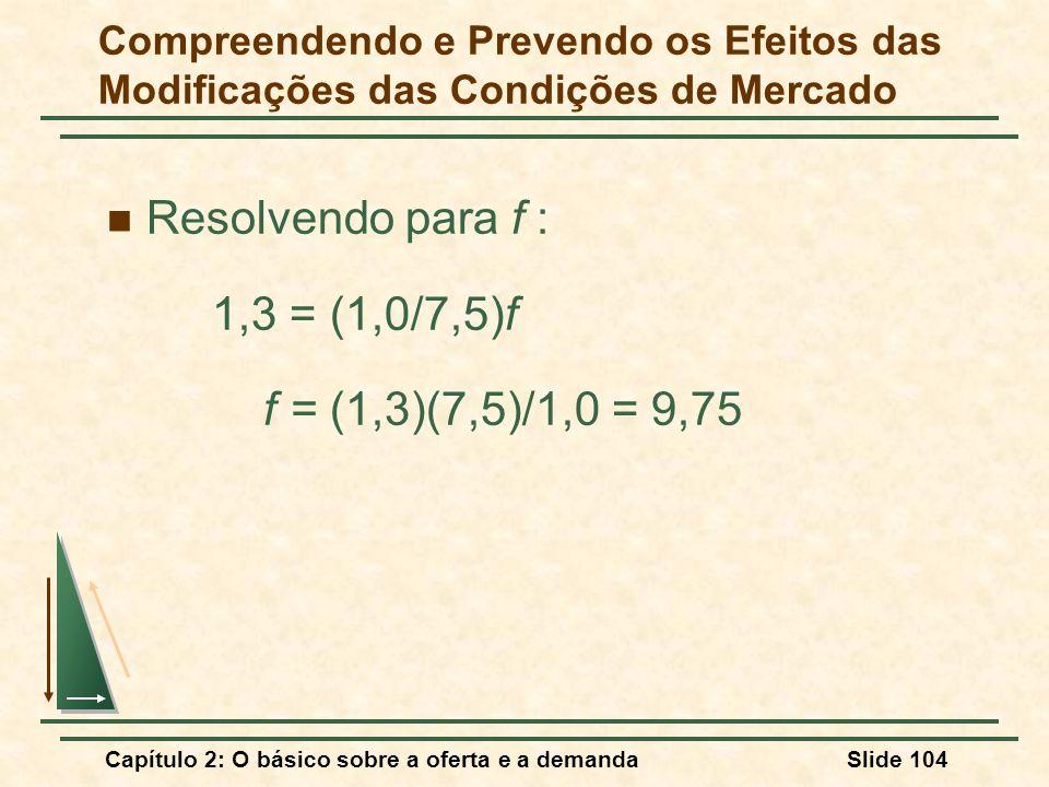 Capítulo 2: O básico sobre a oferta e a demandaSlide 104 Resolvendo para f : 1,3 = (1,0/7,5)f f = (1,3)(7,5)/1,0 = 9,75 Compreendendo e Prevendo os Ef