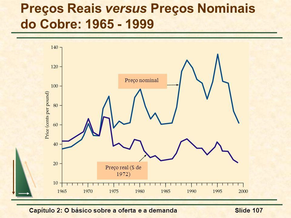 Capítulo 2: O básico sobre a oferta e a demandaSlide 107 Preços Reais versus Preços Nominais do Cobre: 1965 - 1999 Preço nominal Preço real ($ de 1972