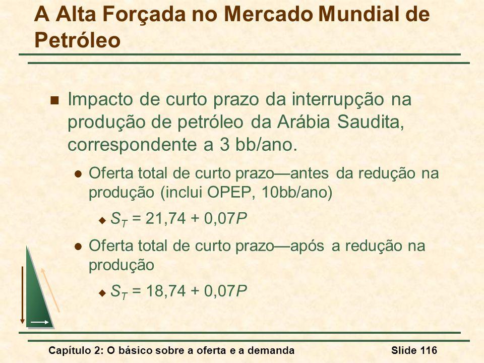Capítulo 2: O básico sobre a oferta e a demandaSlide 116 A Alta Forçada no Mercado Mundial de Petróleo Impacto de curto prazo da interrupção na produç