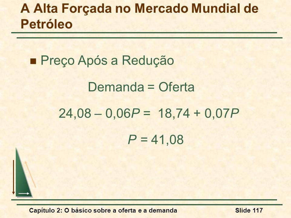 Capítulo 2: O básico sobre a oferta e a demandaSlide 117 A Alta Forçada no Mercado Mundial de Petróleo Preço Após a Redução Demanda = Oferta 24,08 – 0