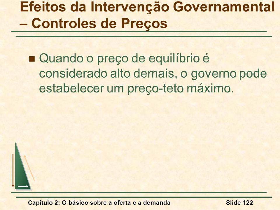 Capítulo 2: O básico sobre a oferta e a demandaSlide 122 Efeitos da Intervenção Governamental – Controles de Preços Quando o preço de equilíbrio é con