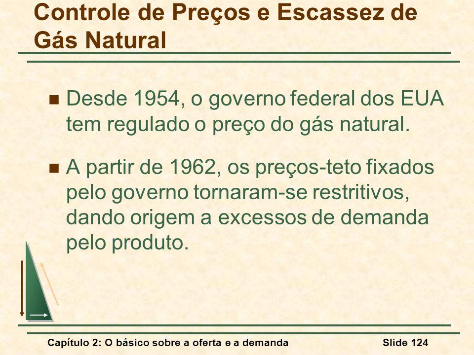 Capítulo 2: O básico sobre a oferta e a demandaSlide 124 Controle de Preços e Escassez de Gás Natural Desde 1954, o governo federal dos EUA tem regula