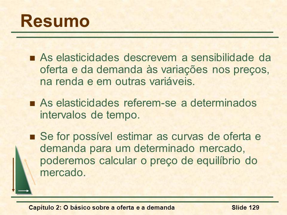 Capítulo 2: O básico sobre a oferta e a demandaSlide 129 Resumo As elasticidades descrevem a sensibilidade da oferta e da demanda às variações nos pre
