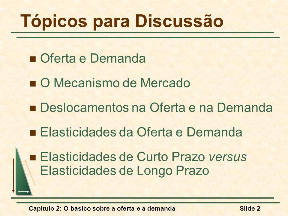Capítulo 2: O básico sobre a oferta e a demandaSlide 2 Tópicos para Discussão Oferta e Demanda O Mecanismo de Mercado Deslocamentos na Oferta e na Dem