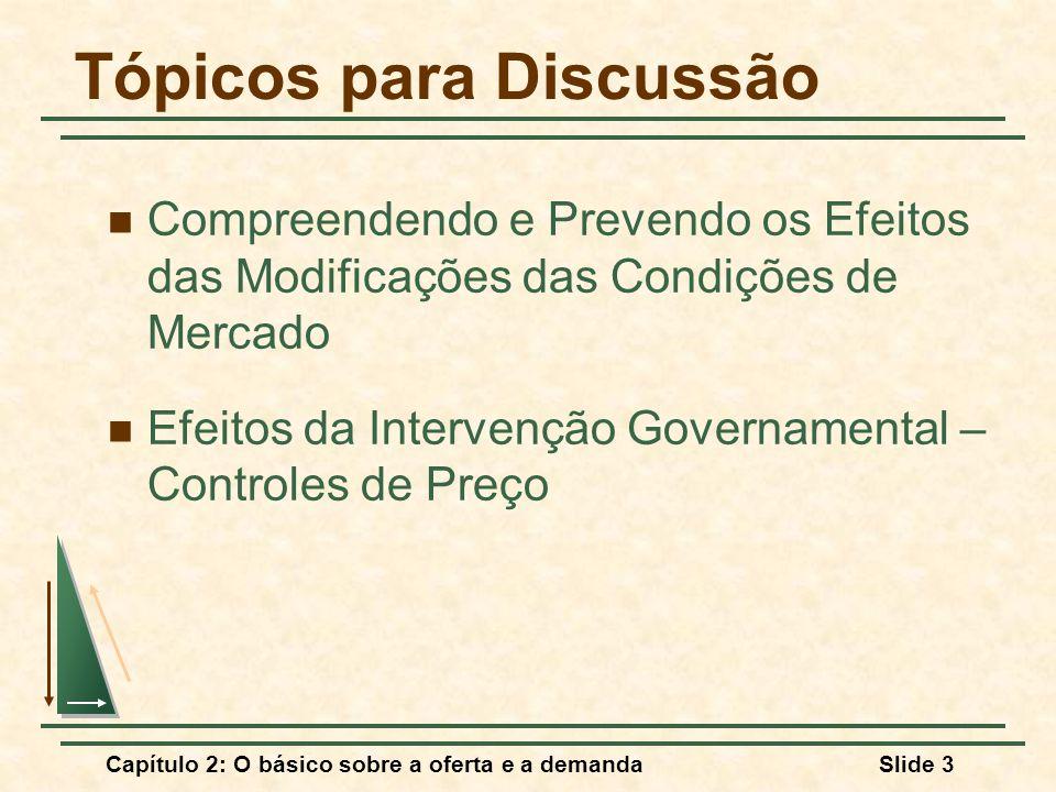 Capítulo 2: O básico sobre a oferta e a demandaSlide 3 Tópicos para Discussão Compreendendo e Prevendo os Efeitos das Modificações das Condições de Me