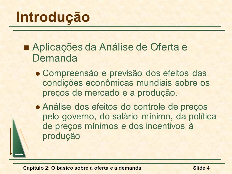 Capítulo 2: O básico sobre a oferta e a demandaSlide 4 Introdução Aplicações da Análise de Oferta e Demanda Compreensão e previsão dos efeitos das con