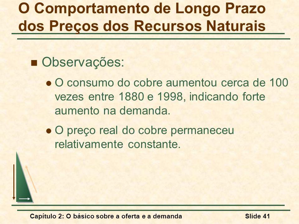 Capítulo 2: O básico sobre a oferta e a demandaSlide 41 O Comportamento de Longo Prazo dos Preços dos Recursos Naturais Observações: O consumo do cobr