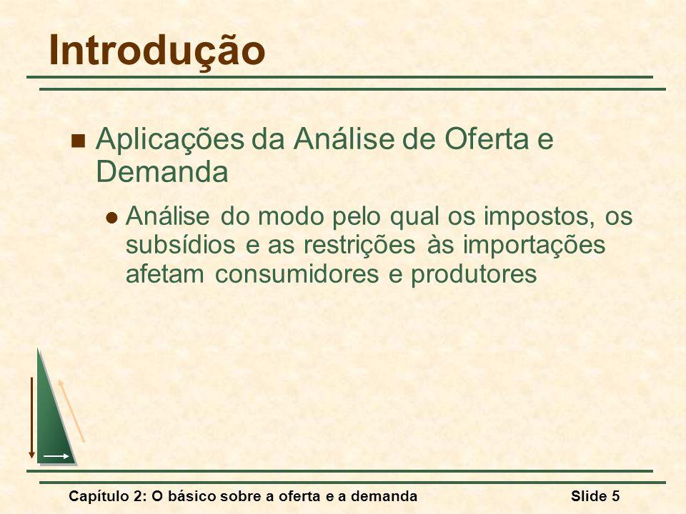 Capítulo 2: O básico sobre a oferta e a demandaSlide 5 Introdução Aplicações da Análise de Oferta e Demanda Análise do modo pelo qual os impostos, os
