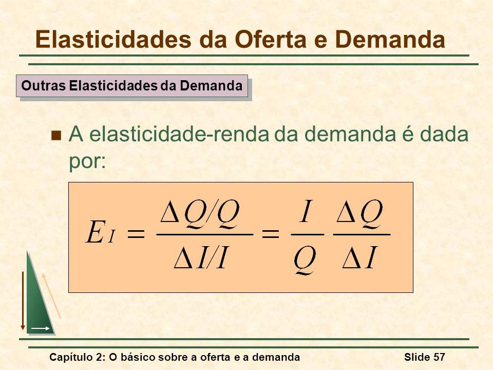 Capítulo 2: O básico sobre a oferta e a demandaSlide 57 Elasticidades da Oferta e Demanda A elasticidade-renda da demanda é dada por: Outras Elasticid