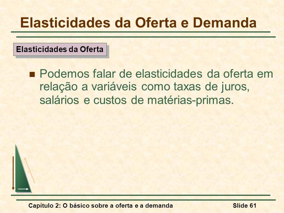 Capítulo 2: O básico sobre a oferta e a demandaSlide 61 Elasticidades da Oferta e Demanda Podemos falar de elasticidades da oferta em relação a variáv