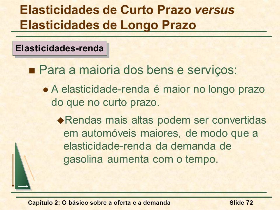Capítulo 2: O básico sobre a oferta e a demandaSlide 72 Para a maioria dos bens e serviços: A elasticidade-renda é maior no longo prazo do que no curt