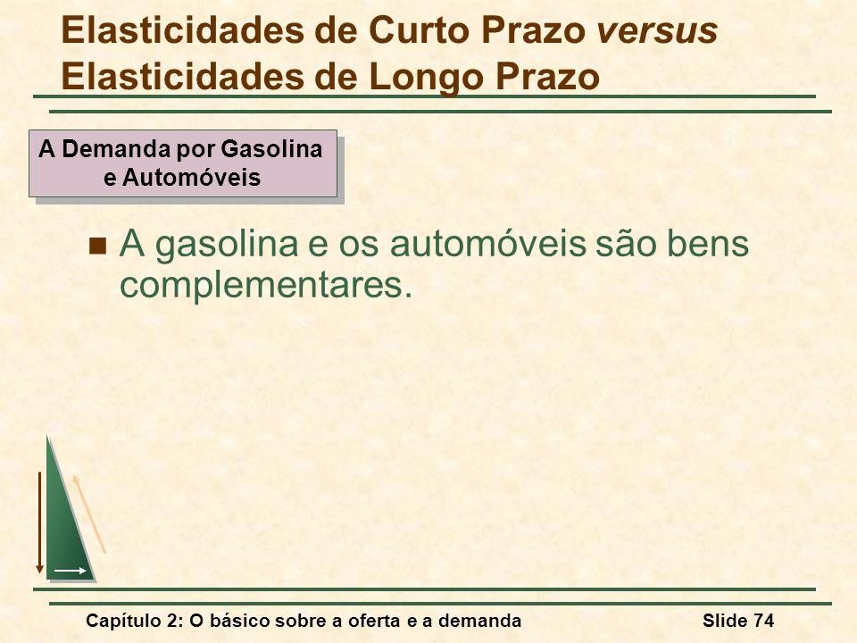 Capítulo 2: O básico sobre a oferta e a demandaSlide 74 A gasolina e os automóveis são bens complementares. Elasticidades de Curto Prazo versus Elasti