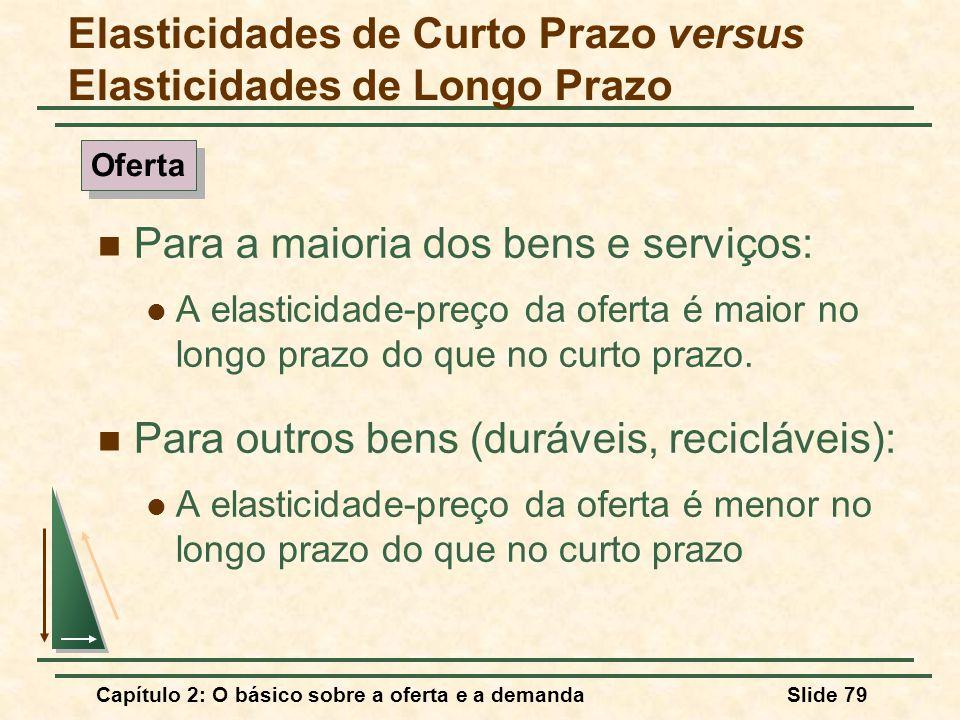 Capítulo 2: O básico sobre a oferta e a demandaSlide 79 Para a maioria dos bens e serviços: A elasticidade-preço da oferta é maior no longo prazo do q