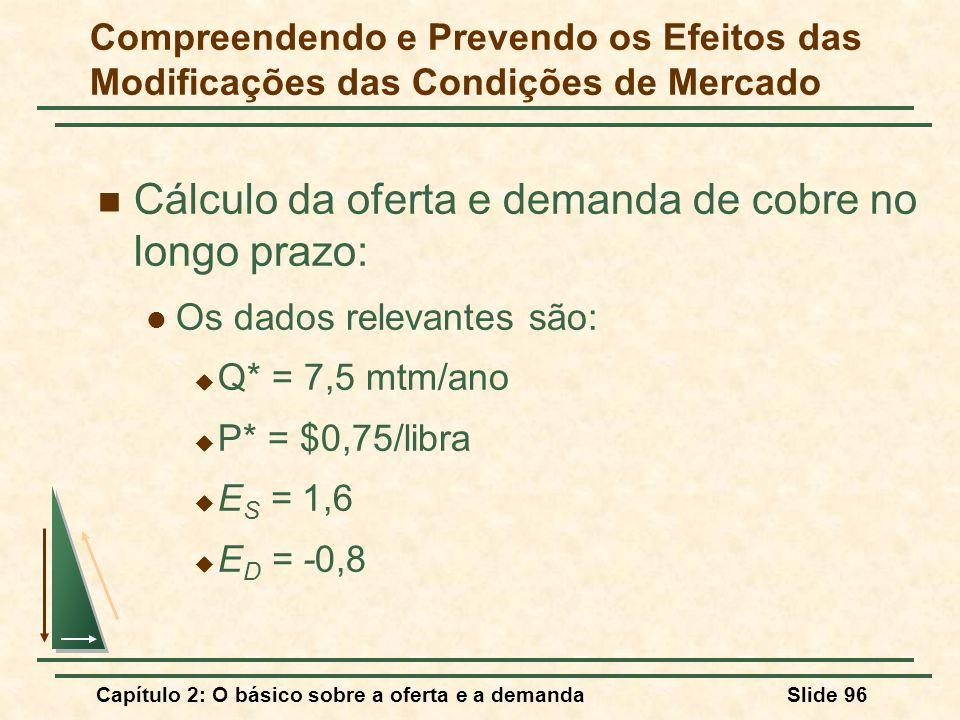 Capítulo 2: O básico sobre a oferta e a demandaSlide 96 Cálculo da oferta e demanda de cobre no longo prazo: Os dados relevantes são:  Q* = 7,5 mtm/a