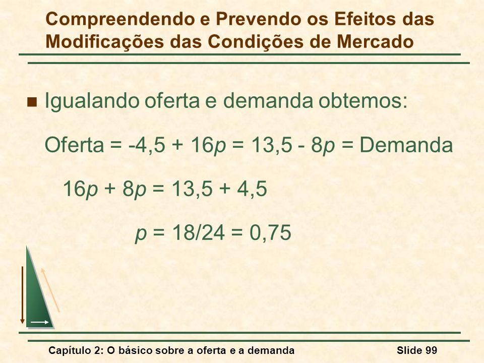Capítulo 2: O básico sobre a oferta e a demandaSlide 99 Igualando oferta e demanda obtemos: Oferta = -4,5 + 16p = 13,5 - 8p = Demanda 16p + 8p = 13,5