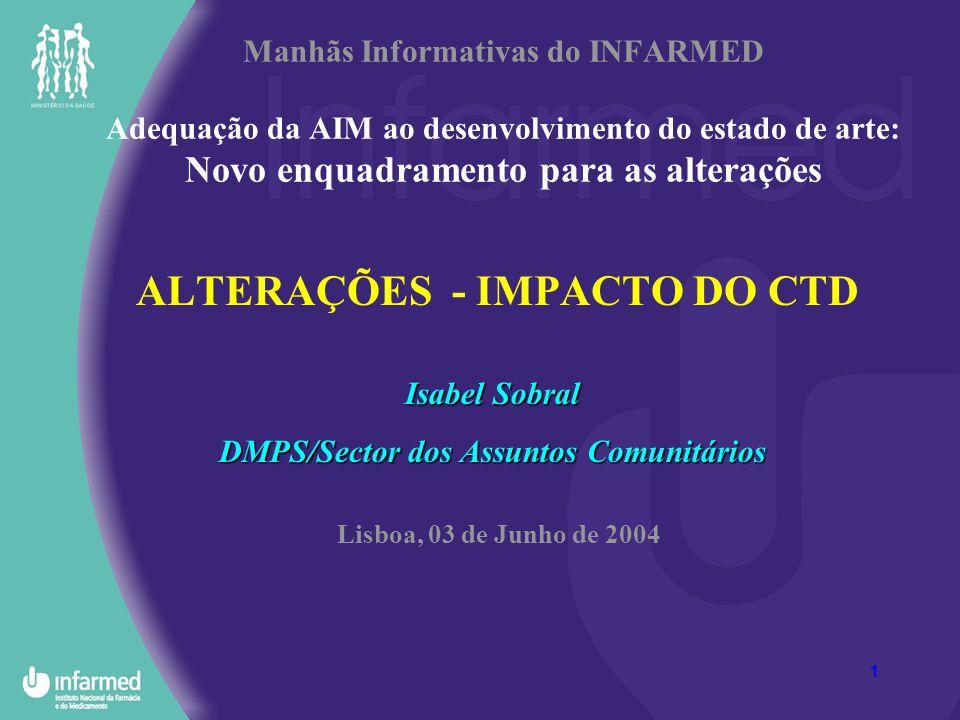 1 Manhãs Informativas do INFARMED Adequação da AIM ao desenvolvimento do estado de arte: Novo enquadramento para as alterações ALTERAÇÕES - IMPACTO DO