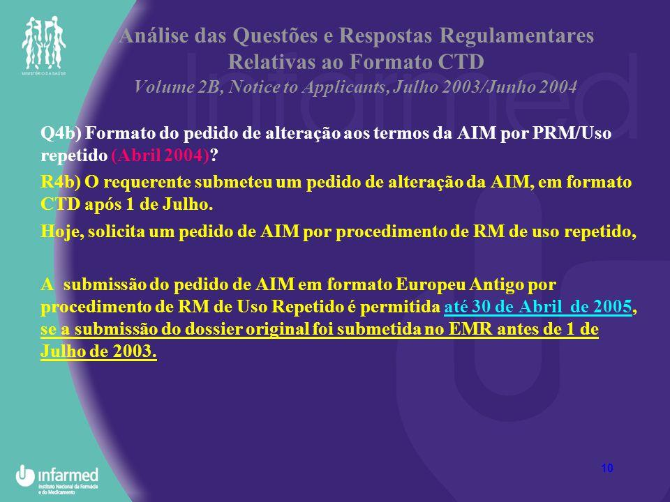 10 Análise das Questões e Respostas Regulamentares Relativas ao Formato CTD Volume 2B, Notice to Applicants, Julho 2003/Junho 2004 Q4b) Formato do ped