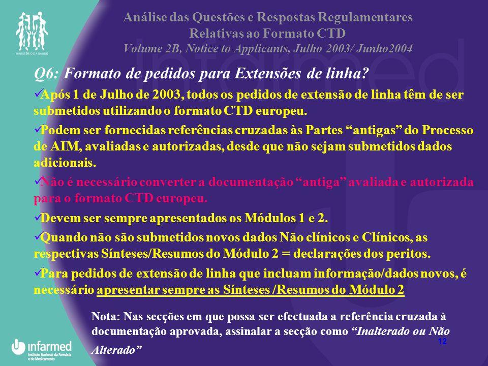 12 Análise das Questões e Respostas Regulamentares Relativas ao Formato CTD Volume 2B, Notice to Applicants, Julho 2003/ Junho2004 Q6: Formato de pedi