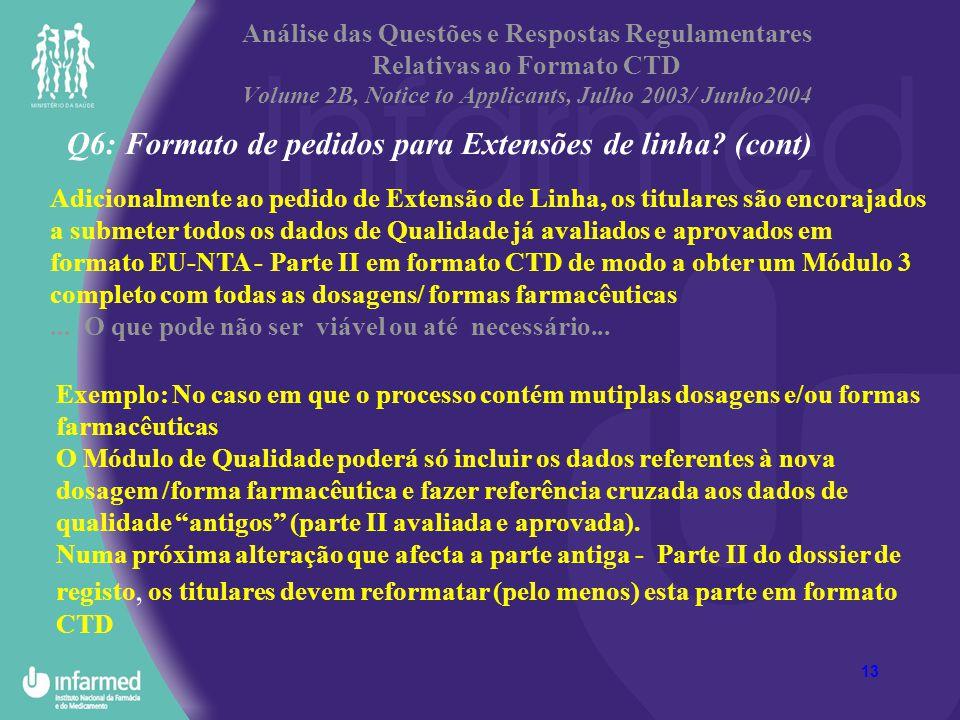 13 Análise das Questões e Respostas Regulamentares Relativas ao Formato CTD Volume 2B, Notice to Applicants, Julho 2003/ Junho2004 Q6: Formato de pedi