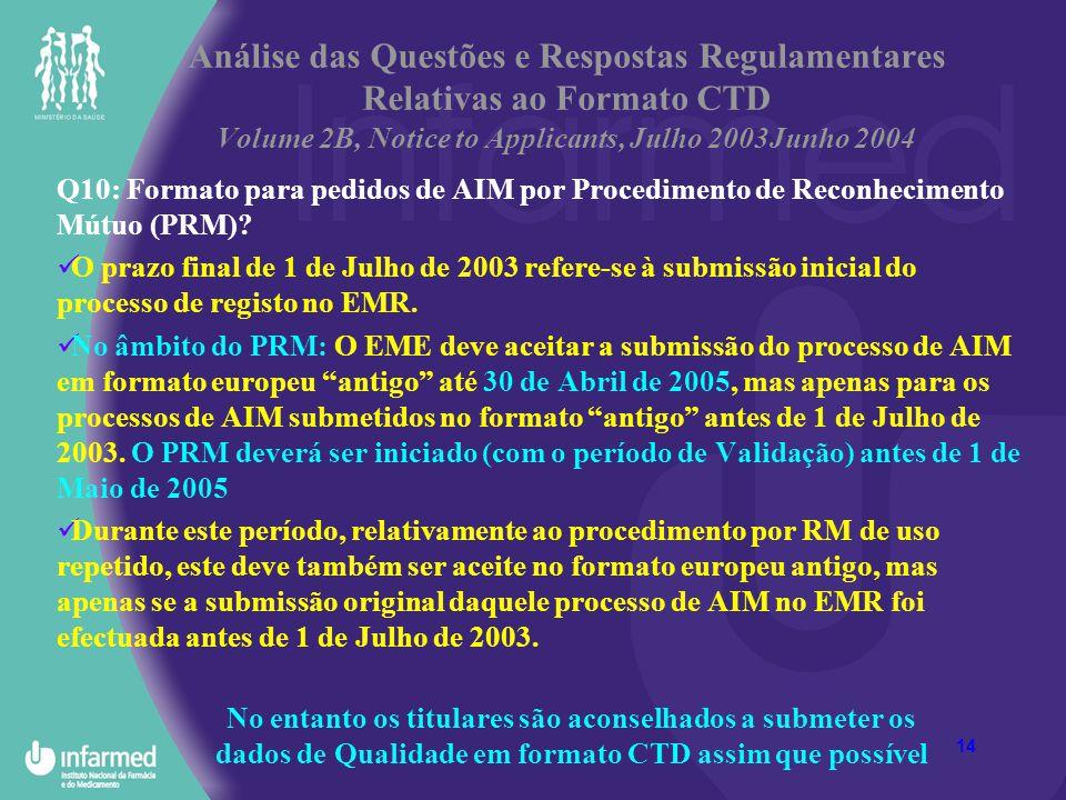 14 Análise das Questões e Respostas Regulamentares Relativas ao Formato CTD Volume 2B, Notice to Applicants, Julho 2003Junho 2004 Q10: Formato para pe