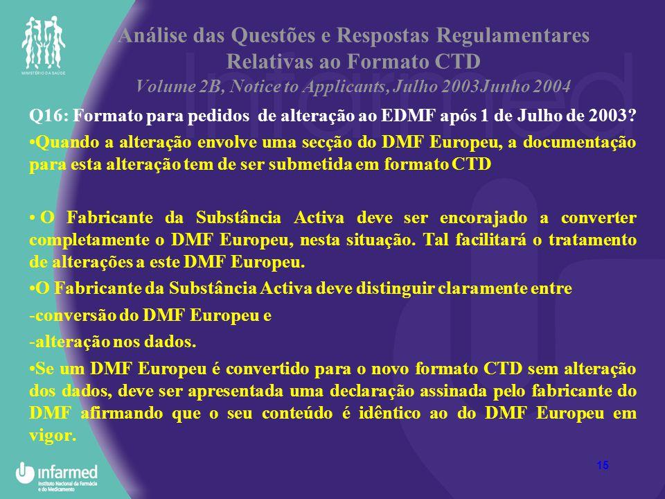15 Análise das Questões e Respostas Regulamentares Relativas ao Formato CTD Volume 2B, Notice to Applicants, Julho 2003Junho 2004 Q16: Formato para pe