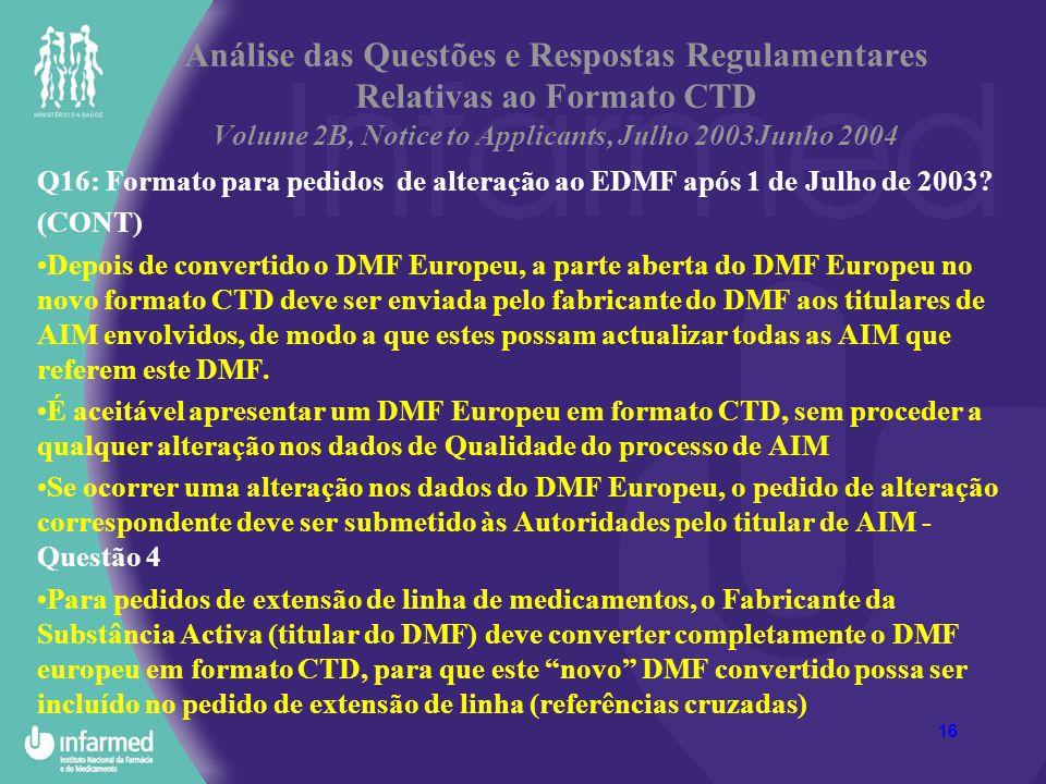 16 Análise das Questões e Respostas Regulamentares Relativas ao Formato CTD Volume 2B, Notice to Applicants, Julho 2003Junho 2004 Q16: Formato para pe