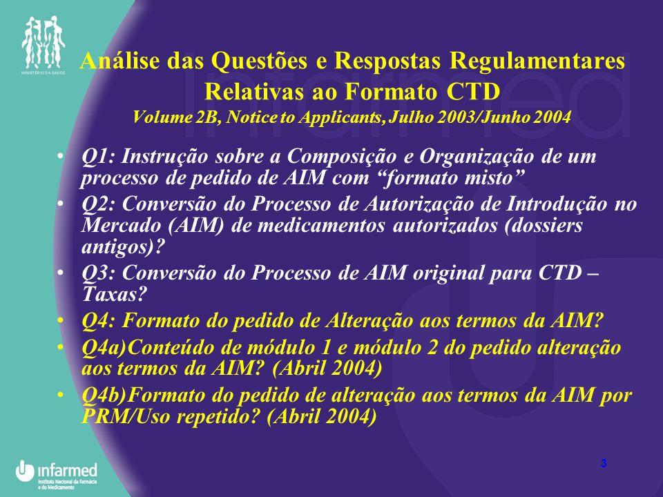14 Análise das Questões e Respostas Regulamentares Relativas ao Formato CTD Volume 2B, Notice to Applicants, Julho 2003Junho 2004 Q10: Formato para pedidos de AIM por Procedimento de Reconhecimento Mútuo (PRM).