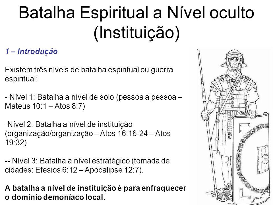 Batalha Espiritual a Nível oculto (Instituição) 1 – Introdução Existem três níveis de batalha espiritual ou guerra espiritual: - Nível 1: Batalha a ní