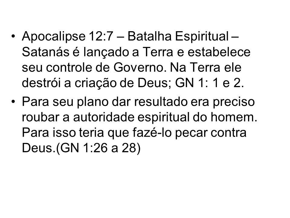Apocalipse 12:7 – Batalha Espiritual – Satanás é lançado a Terra e estabelece seu controle de Governo. Na Terra ele destrói a criação de Deus; GN 1: 1