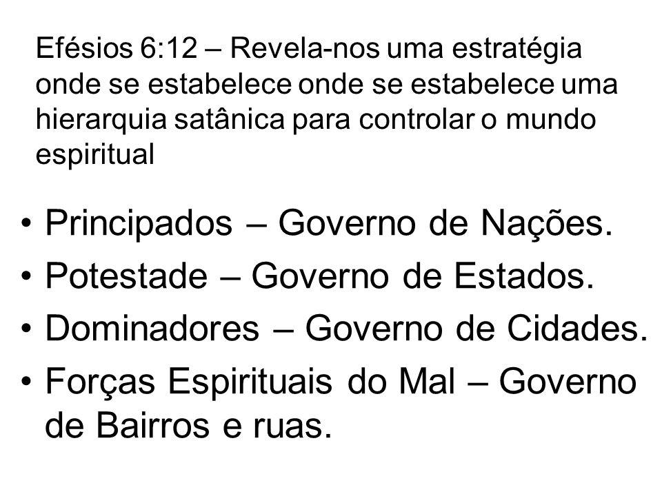 Efésios 6:12 – Revela-nos uma estratégia onde se estabelece onde se estabelece uma hierarquia satânica para controlar o mundo espiritual Principados – Governo de Nações.