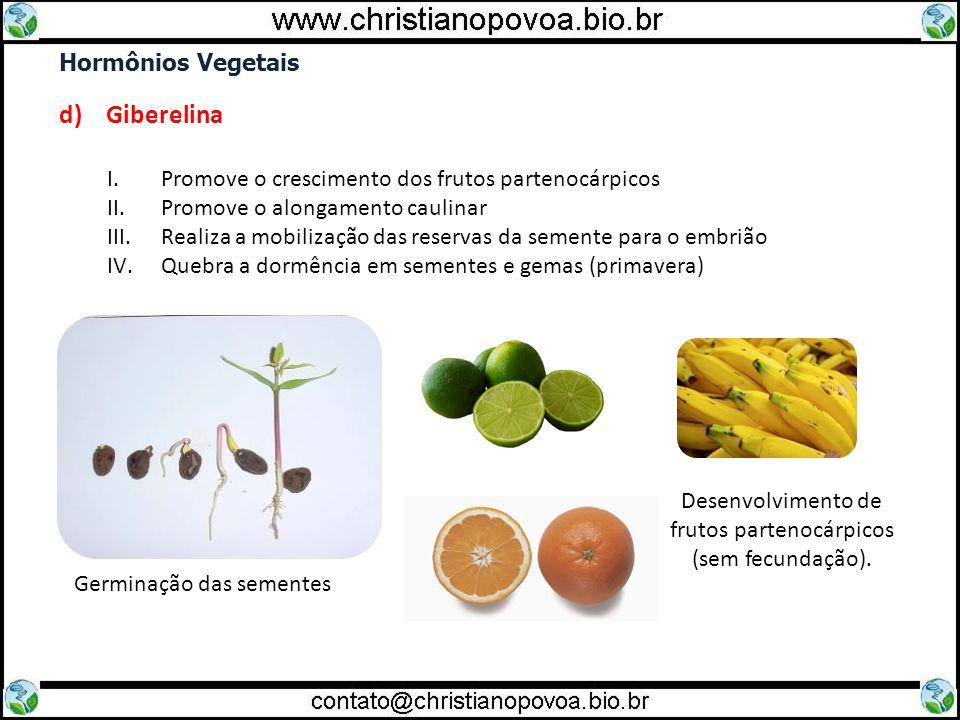 Hormônios Vegetais d) Giberelina I.Promove o crescimento dos frutos partenocárpicos II.Promove o alongamento caulinar III.Realiza a mobilização das re