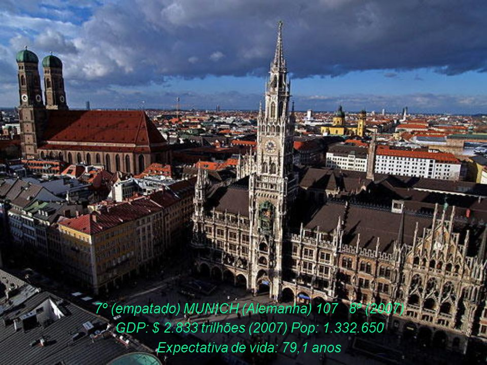 7º FRANKFURT (Alemanha) 107 7º (2007) GDP: $ 2.833 trilhões (2007) População: 3.700.000 Exp. Vida: 79,1 anos