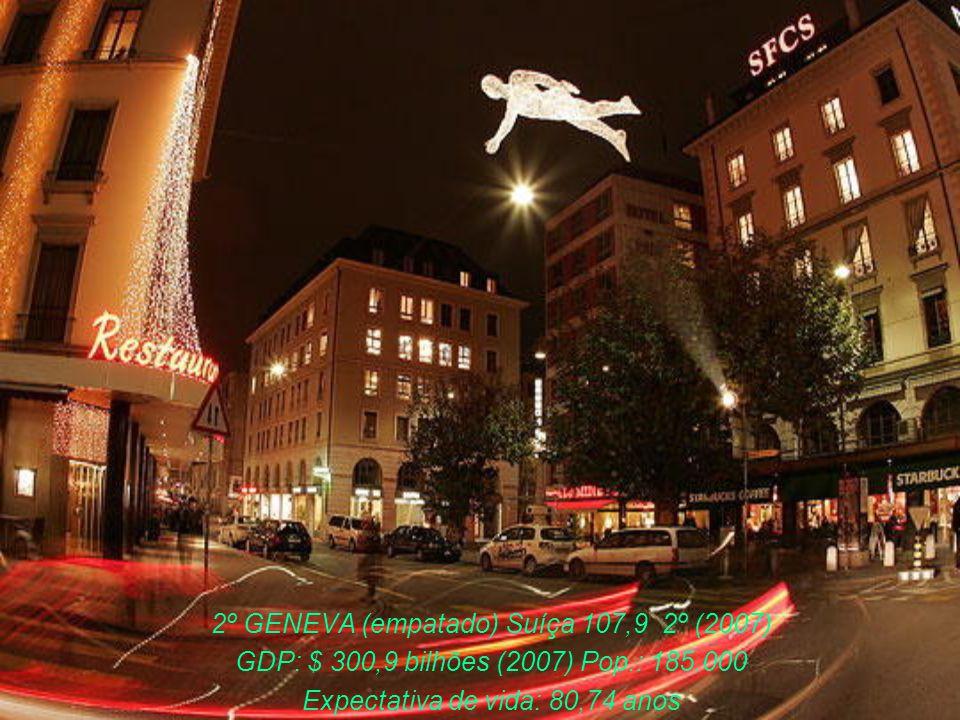 4º VANCOUVER (Canada) 107,6 3º (2007) GDP: $ 1.274 trilhões (2007) Pop.: 560.000 Expectativa de vida: 81,16 anos