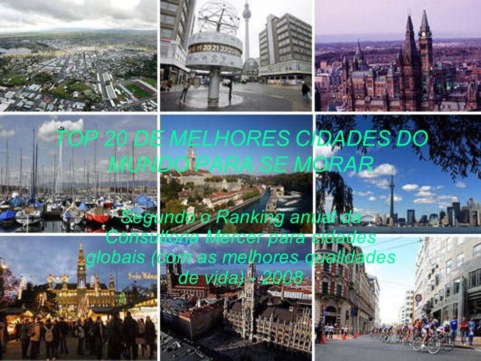 TOP 20 DE MELHORES CIDADES DO MUNDO PARA SE MORAR Segundo o Ranking anual da Consultoria Mercer para cidades globais (com as melhores qualidades de vida) - 2008