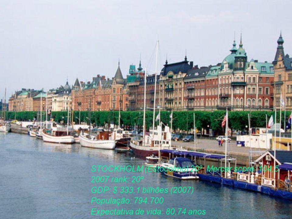 STOCKHOLM (Estocolmo) 20º Mercer score: 104,5 2007 rank: 20º GDP: $ 333,1 bilhões (2007) População: 794.700 Expectativa de vida: 80,74 anos