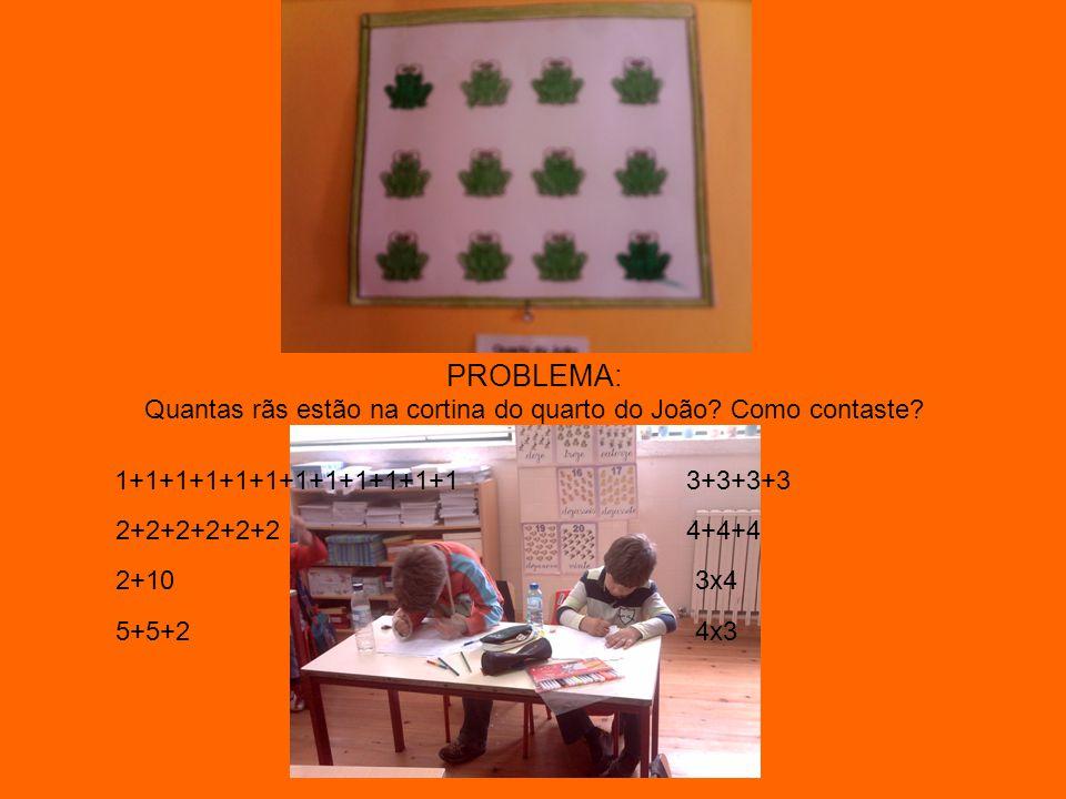 PROBLEMA: Quantas rãs estão na cortina do quarto do João? Como contaste? 1+1+1+1+1+1+1+1+1+1+1+1 2+2+2+2+2+24+4+4 5+5+2 3+3+3+3 2+103x4 4x3