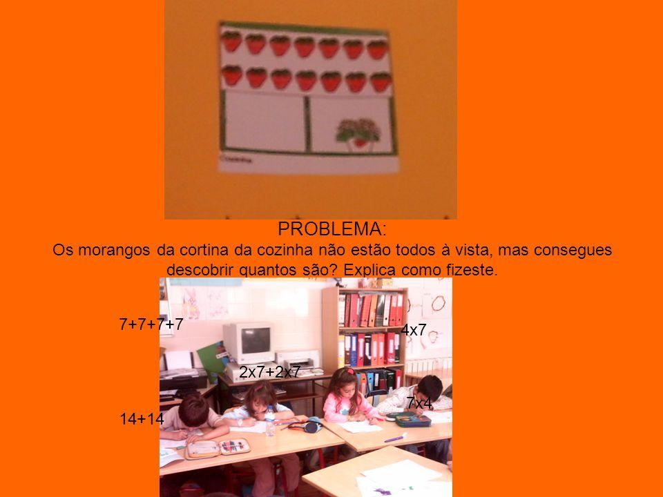 PROBLEMA: Os morangos da cortina da cozinha não estão todos à vista, mas consegues descobrir quantos são? Explica como fizeste. 7+7+7+7 14+14 4x7 2x7+