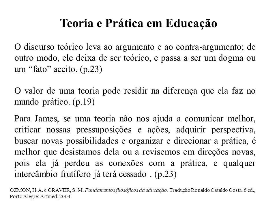OZMON, H.A. e CRAVER, S. M. Fundamentos filosóficos da educação. Tradução Ronaldo Cataldo Costa. 6 ed., Porto Alegre: Artmed, 2004. Teoria e Prática e