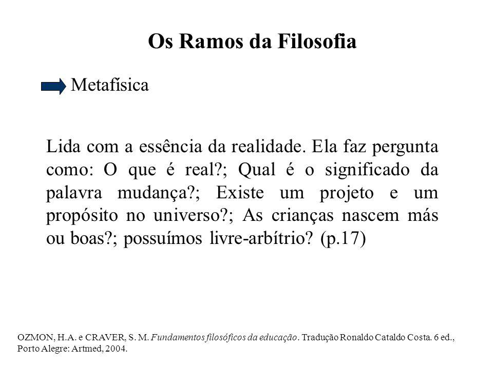OZMON, H.A.e CRAVER, S. M. Fundamentos filosóficos da educação.