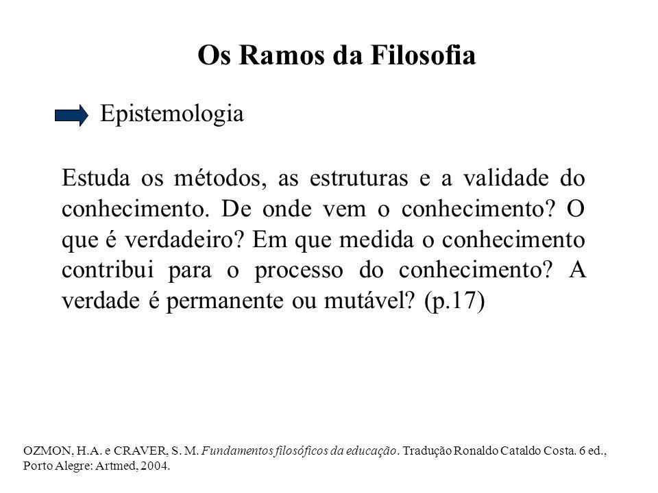 OZMON, H.A. e CRAVER, S. M. Fundamentos filosóficos da educação. Tradução Ronaldo Cataldo Costa. 6 ed., Porto Alegre: Artmed, 2004. Os Ramos da Filoso