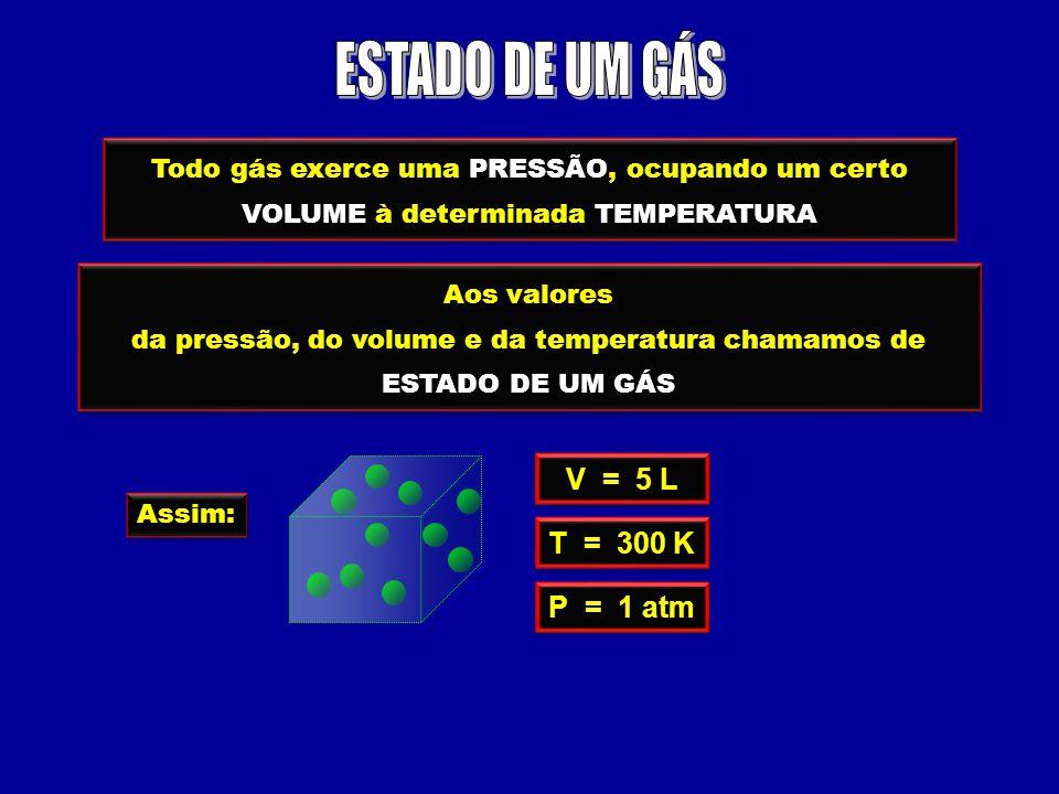 Todo gás exerce uma PRESSÃO, ocupando um certo VOLUME à determinada TEMPERATURA Aos valores da pressão, do volume e da temperatura chamamos de ESTADO DE UM GÁS Aos valores da pressão, do volume e da temperatura chamamos de ESTADO DE UM GÁS Assim: V = 5 L T = 300 K P = 1 atm