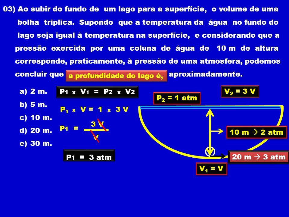 03) Ao subir do fundo de um lago para a superfície, o volume de uma bolha triplica.