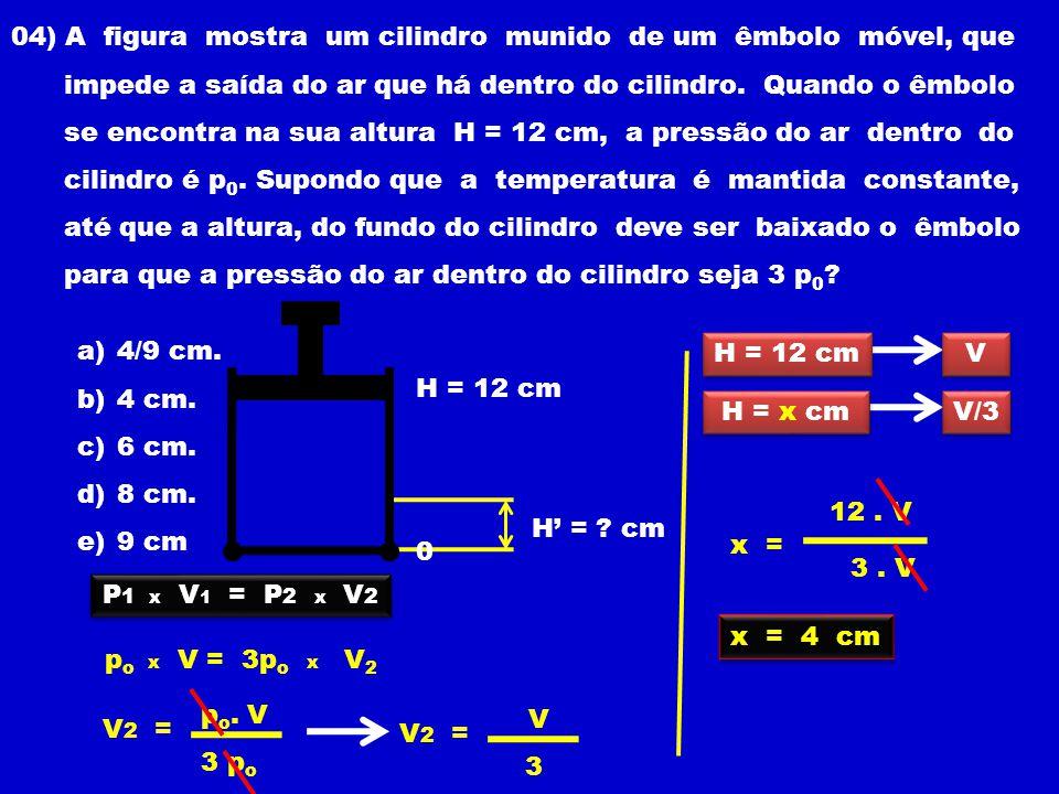 04) A figura mostra um cilindro munido de um êmbolo móvel, que impede a saída do ar que há dentro do cilindro.