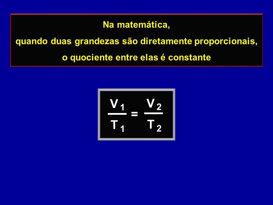 Na matemática, quando duas grandezas são diretamente proporcionais, o quociente entre elas é constante Na matemática, quando duas grandezas são diretamente proporcionais, o quociente entre elas é constante V T = 1 1 V T 2 2